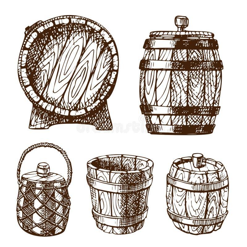 Vieille bière blonde allemande liquide tirée par la main de tambour de cargaison de distillerie de fermentation de boisson de réc illustration stock