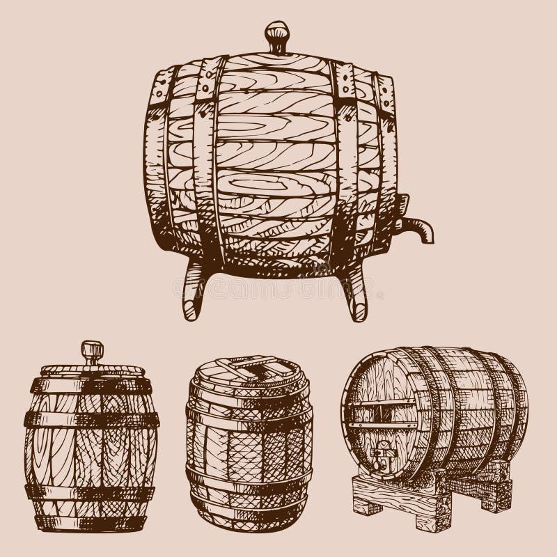 Vieille bière blonde allemande liquide tirée par la main de tambour de cargaison de distillerie de fermentation de boisson de réc illustration libre de droits