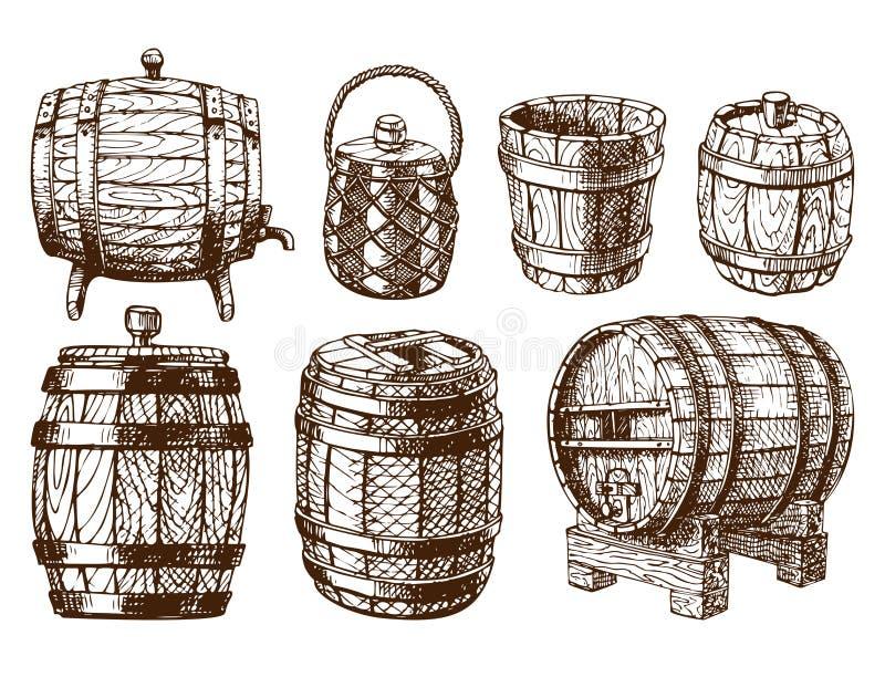 Vieille bière blonde allemande liquide tirée par la main de tambour de cargaison de distillerie de fermentation de boisson de réc illustration de vecteur