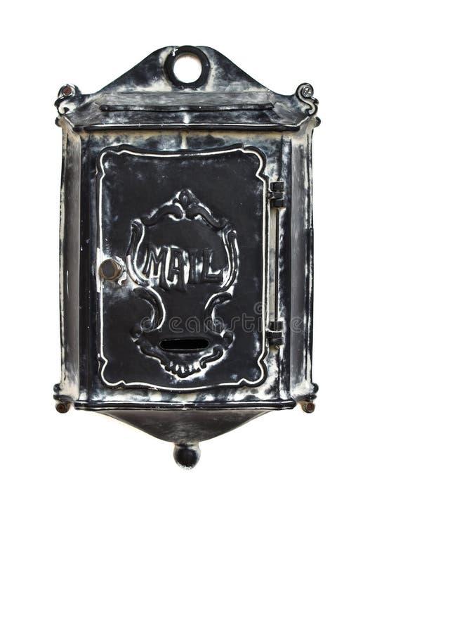 Vieille boîte aux lettres noire antique en métal images stock