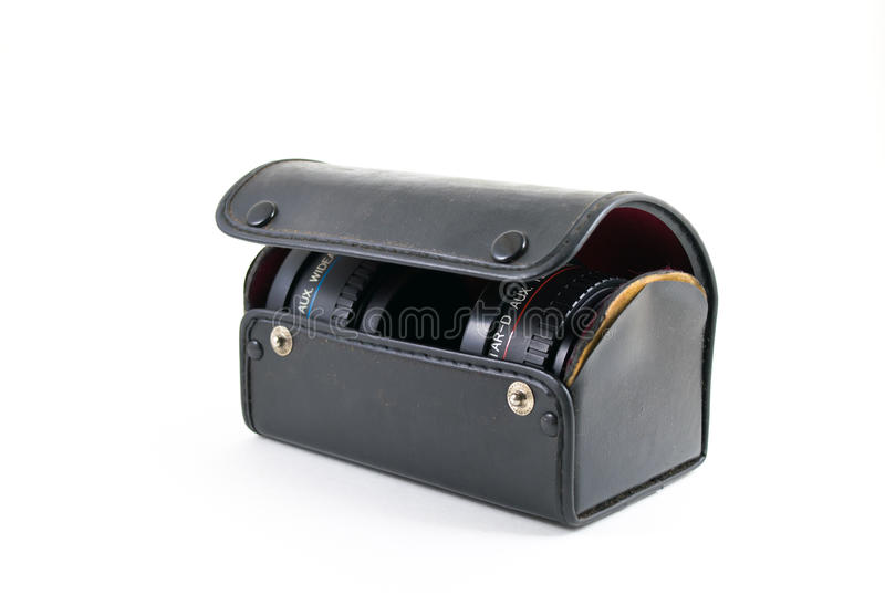 Vieille boîte de lentille photographie stock libre de droits