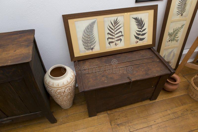 Vieille boîte de tissus et quelques usines sèches abstraites faites comme des peintures photos libres de droits