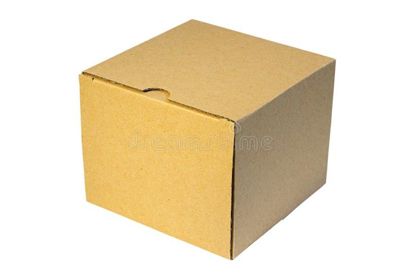 Vieille boîte fermée d'isolement de carton image stock