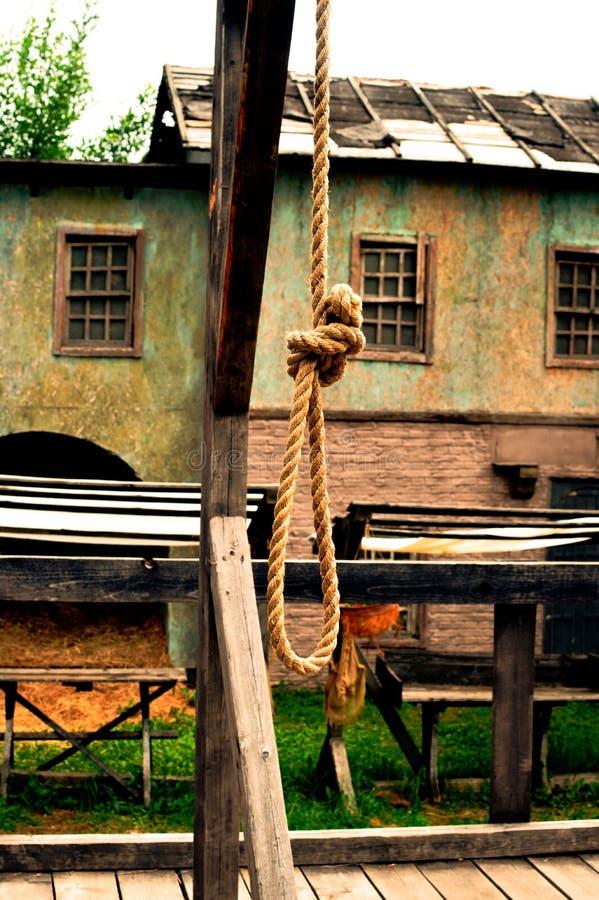 Vieille boucle pour l'homme pendu Une corde sur un eshaafota image libre de droits