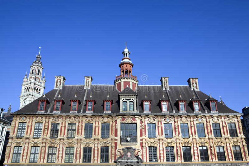 Vieille Bourse on the Grand Place in Lille. The town hall of Lille in France stock photos