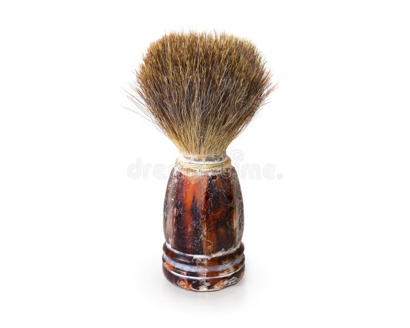 Vieille brosse de rasage d'isolement Rétro support de l'écouvillon des hommes sur le backg blanc photo stock