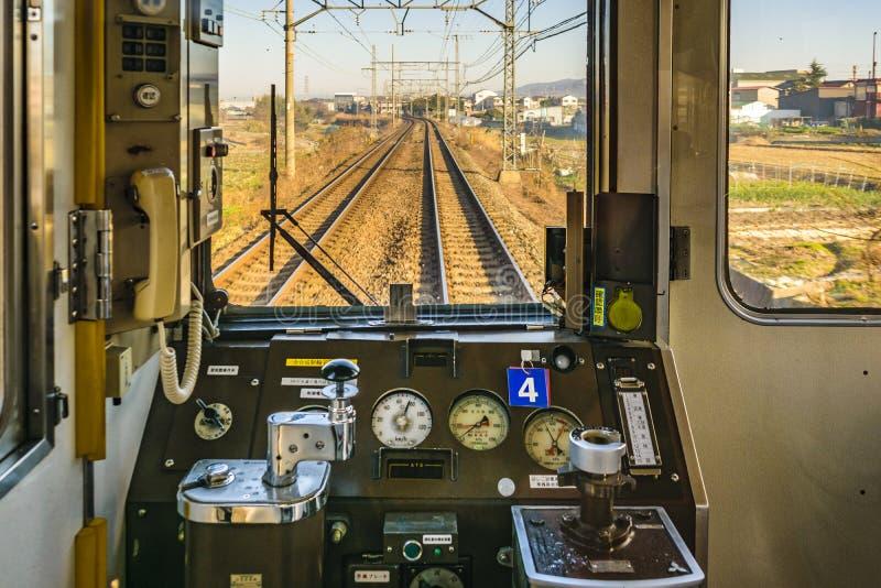 Vieille cabine vide de train, Osaka, Japon photo stock