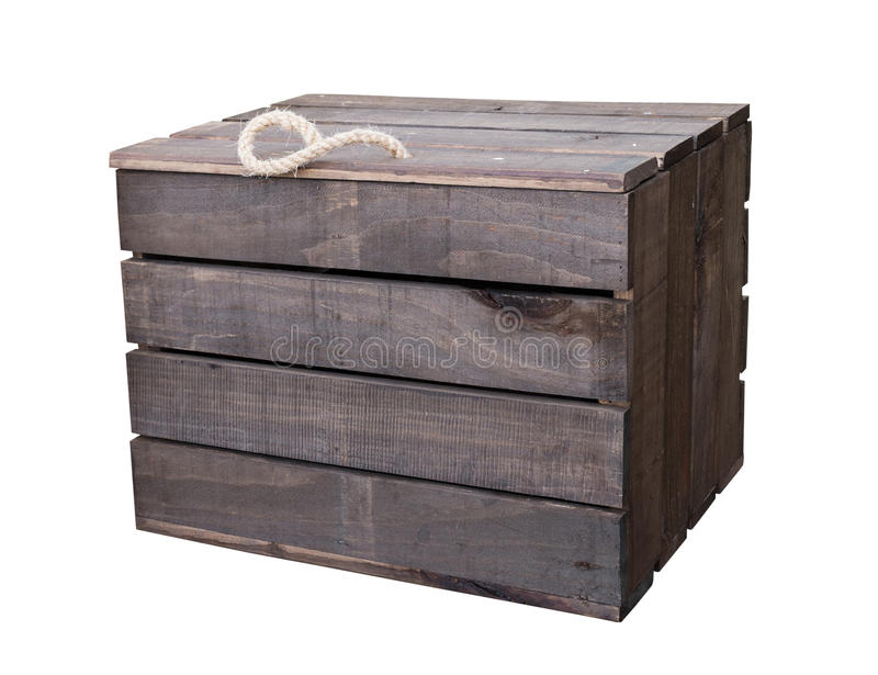 Vieille caisse de boîte en bois de vintage d'isolement sur le blanc avec le tapotement de coupure image libre de droits