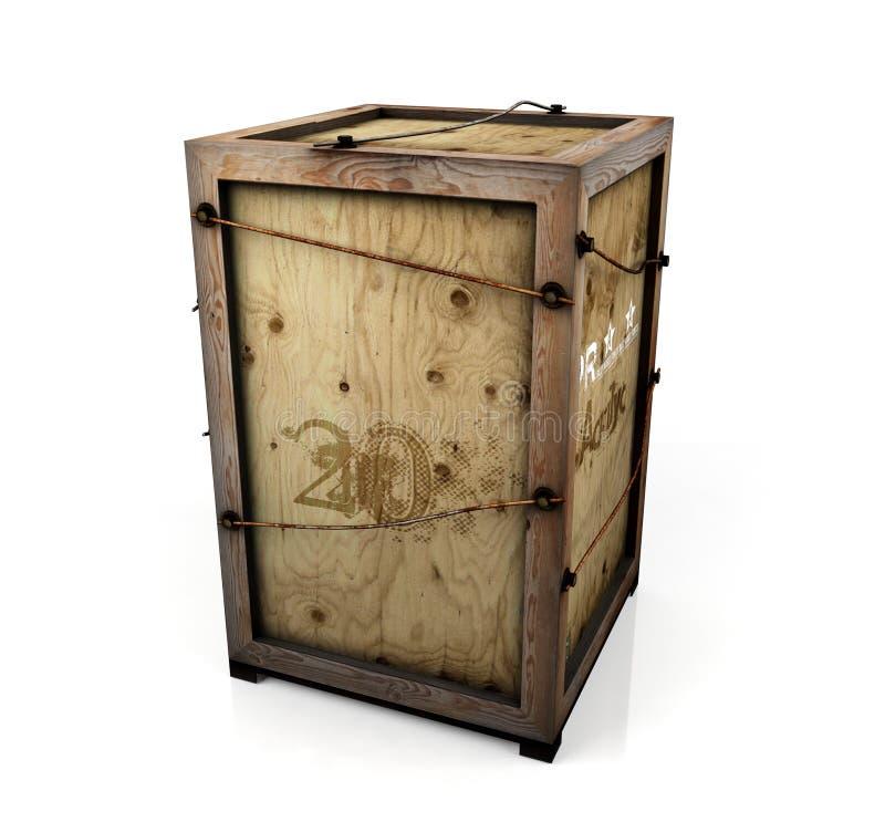 Vieille caisse en bois sur le fond blanc photo libre de droits