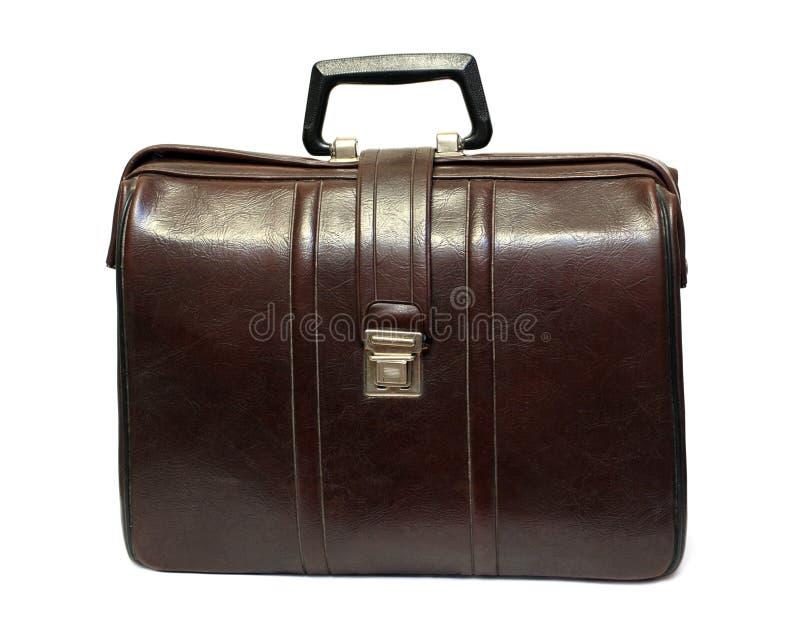 Vieille caisse en cuir brune photographie stock libre de droits