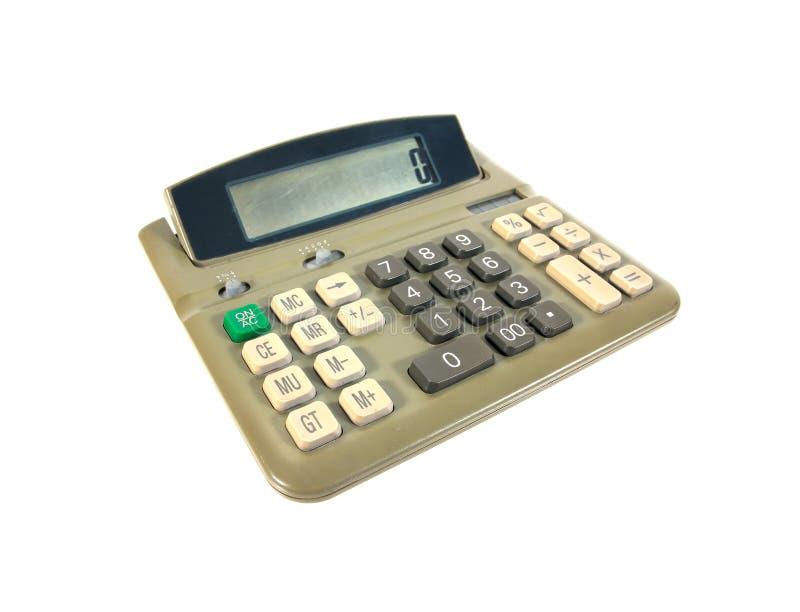 Vieille calculatrice verte d'isolement sur le fond blanc Vieille calculatrice image libre de droits