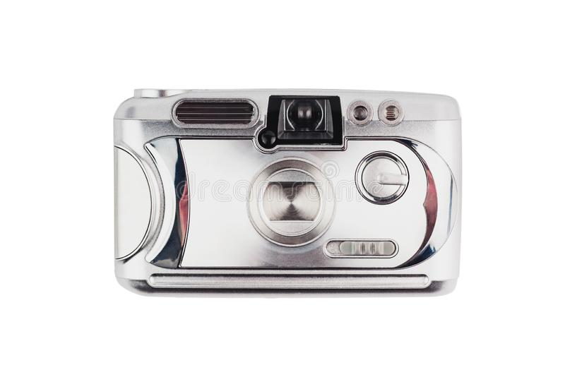 Vieille caméra en plastique argentée brillante de photo d'isolement sur le fond blanc image stock