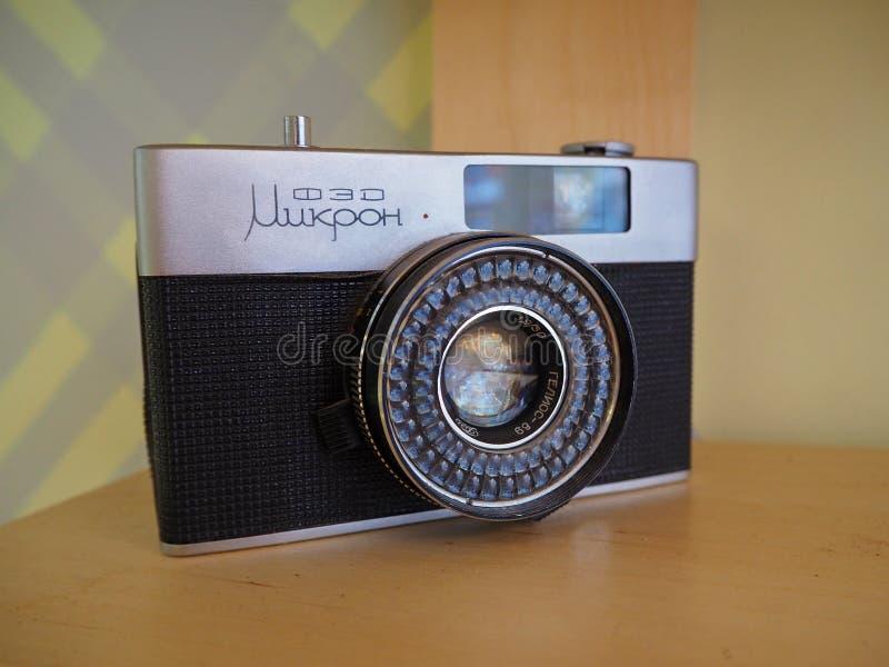 Vieille caméra soviétique rare de moitié-format FED-micro image stock