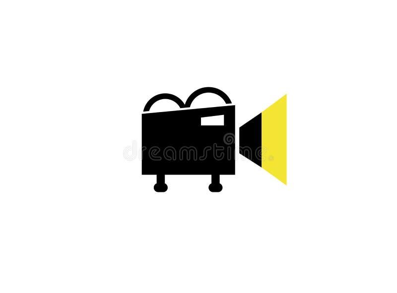Vieille caméra vidéo noire avec la lumière sur l'enregistrement pour l'illustration de conception de logo illustration stock
