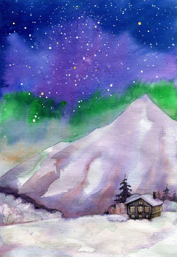 Vieille carlingue en bois dans les montagnes sous l'aquarelle de lumières du nord illustration libre de droits