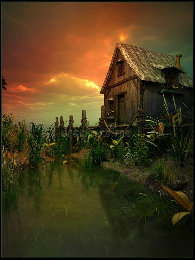 Vieille carlingue sur le marais illustration libre de droits