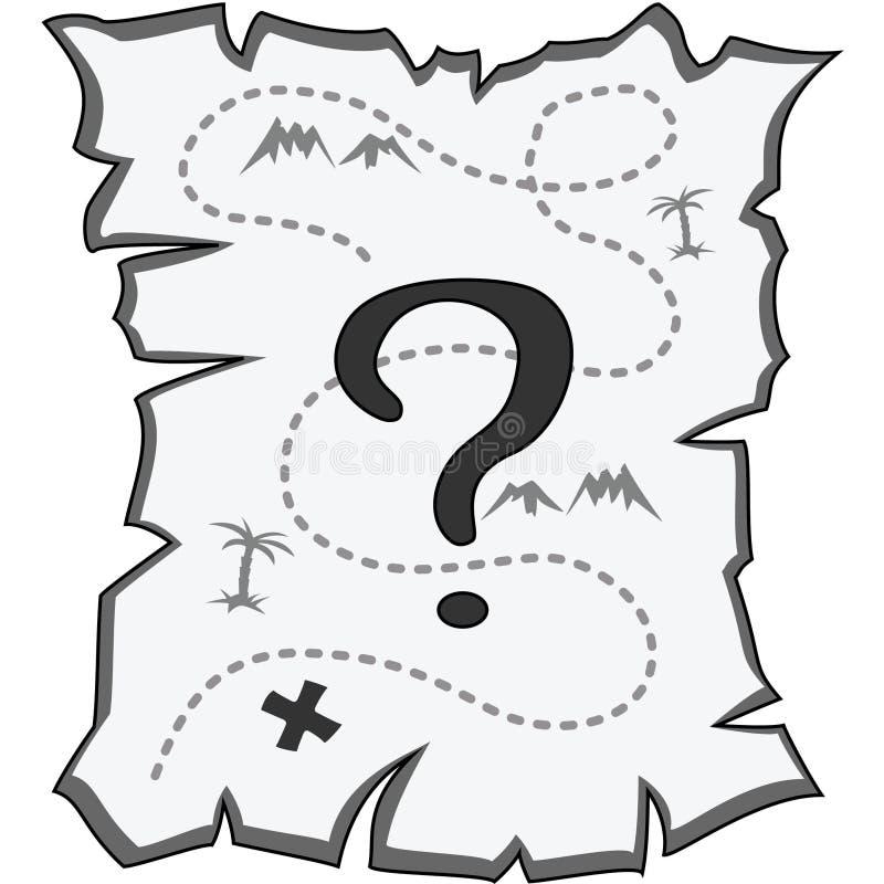 Vieille carte déchirée avec un point d'interrogation, noir et blanc, d'isolement illustration stock