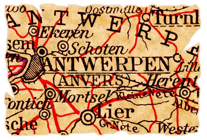 Vieille carte d'Anvers images libres de droits