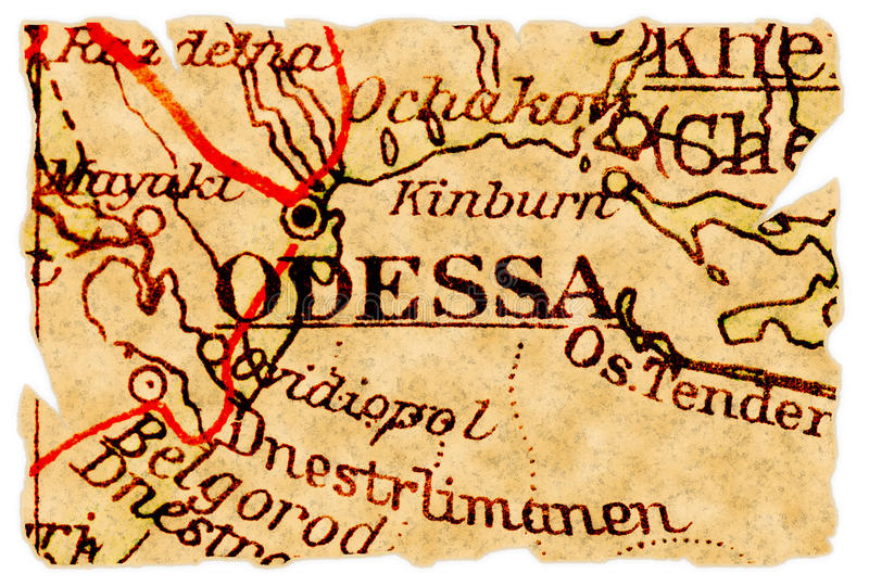 Vieille carte d'Odessa image libre de droits