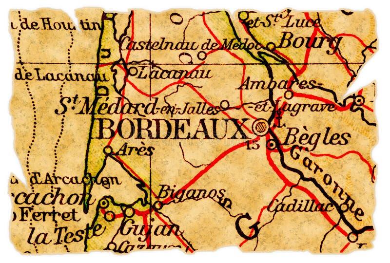 Vieille carte de Bordeaux photographie stock libre de droits