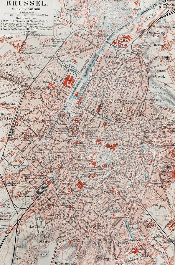 Vieille carte de Bruxelles photos libres de droits
