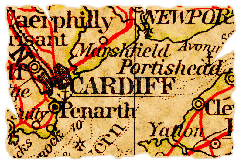 Vieille carte de Cardiff photos stock