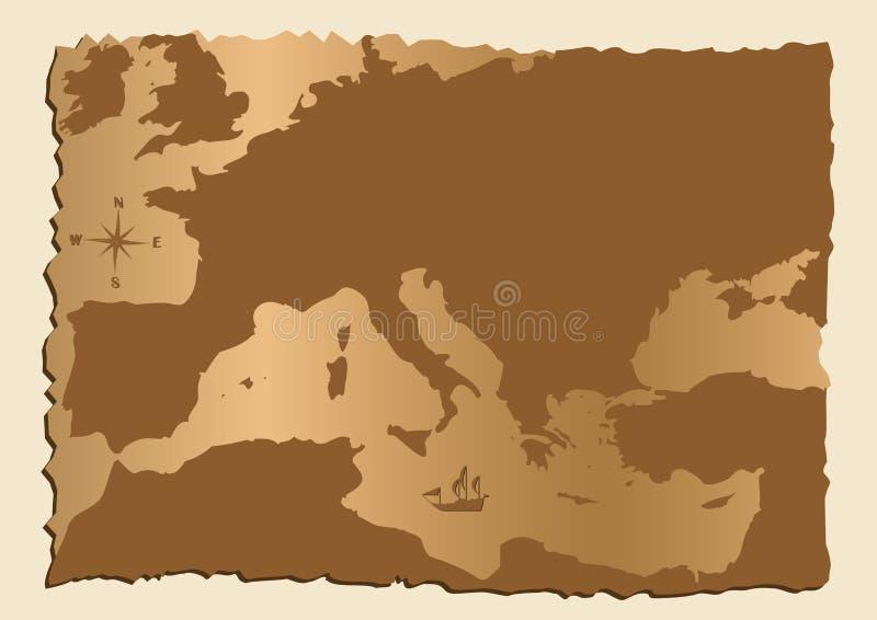 Vieille carte de l'Europe illustration stock