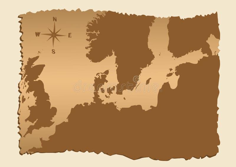 Vieille carte de l'Europe du nord illustration stock