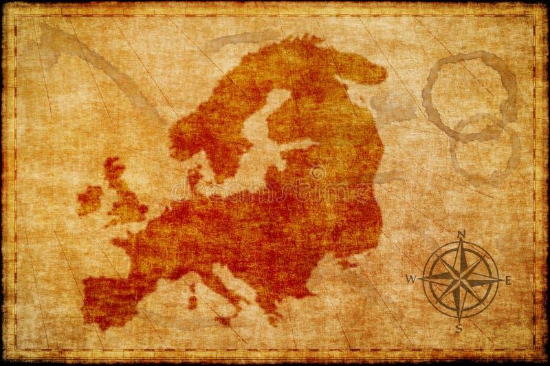 Vieille carte de l'Europe sur le parchmment photo libre de droits