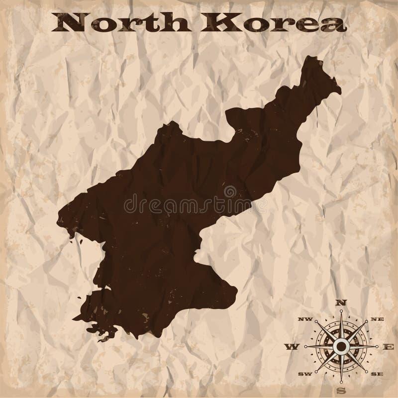 Vieille carte de la Corée du Nord avec le papier grunge et chiffonné Illustration de vecteur illustration stock