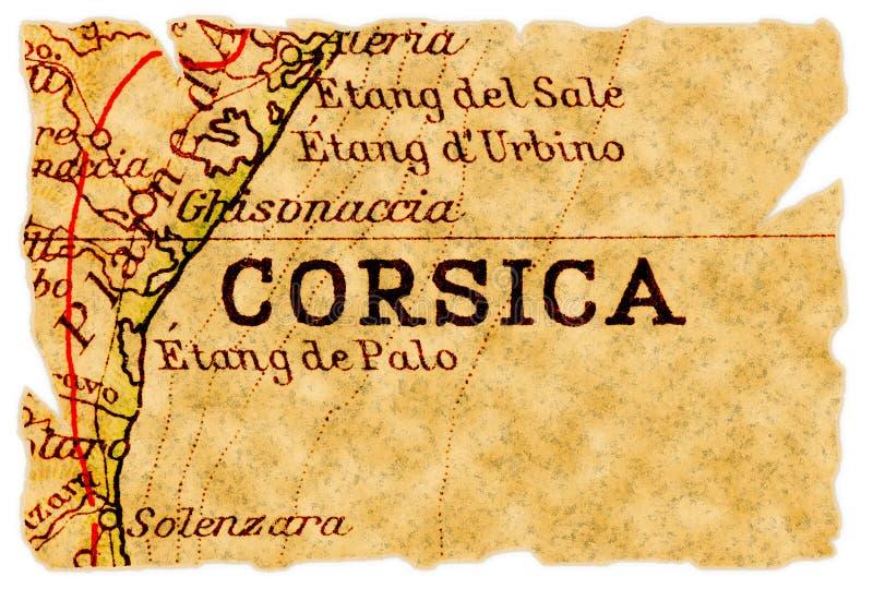 Vieille carte de la Corse photographie stock