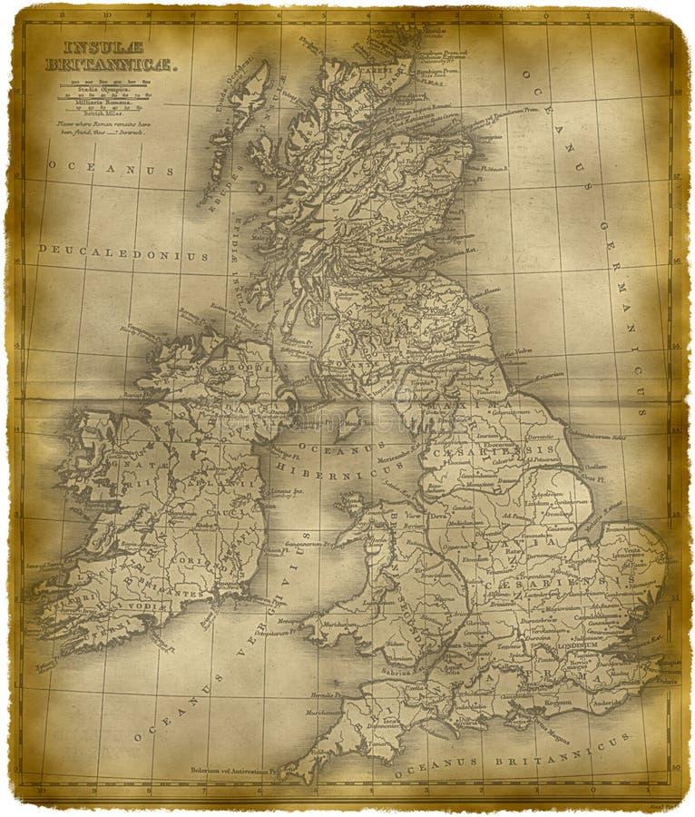 Vieille carte de la Grande-Bretagne illustration stock