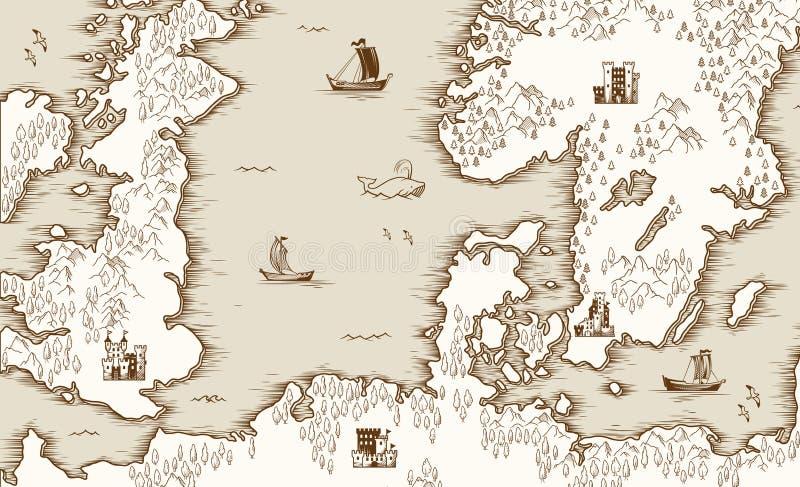 Vieille carte de la Mer du Nord, de la Grande-Bretagne et de la Scandinavie, illustration de vecteur illustration stock