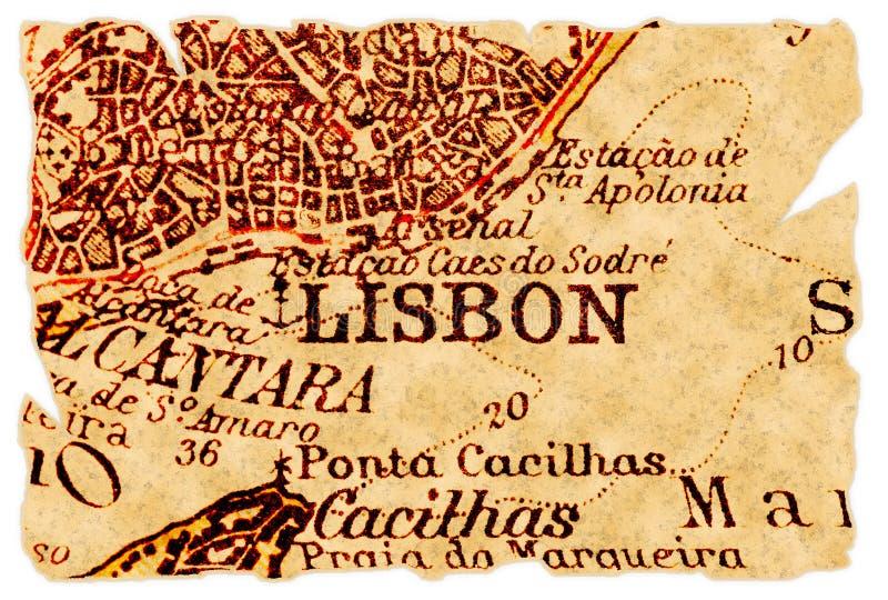 Vieille carte de Lisbonne image stock
