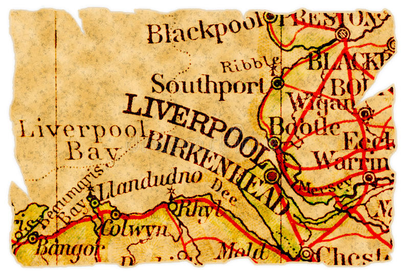 Vieille carte de Liverpool images stock
