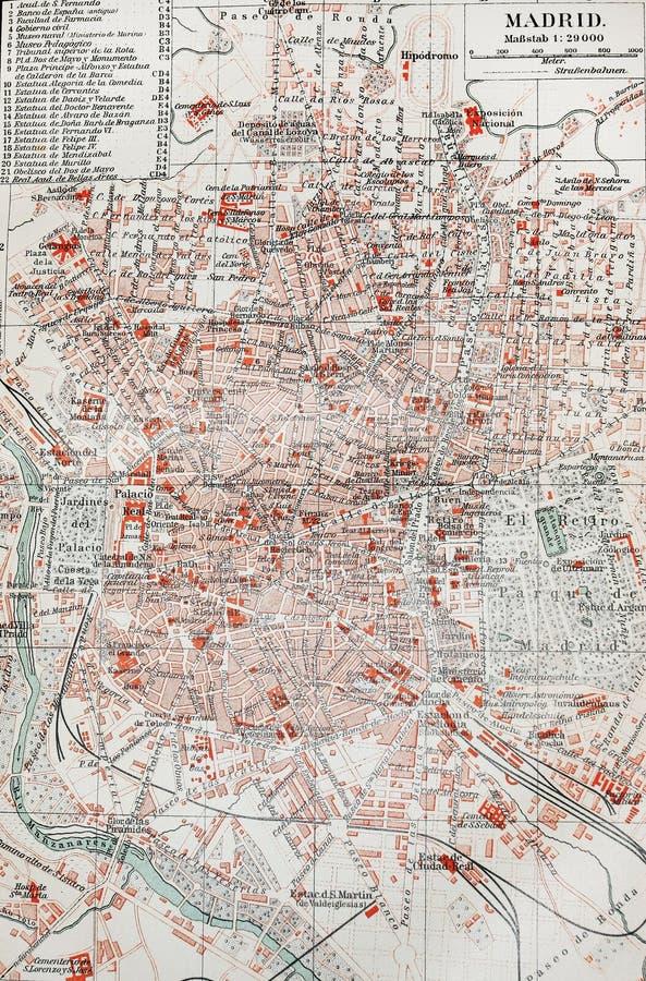 Vieille carte de Madrid photographie stock libre de droits