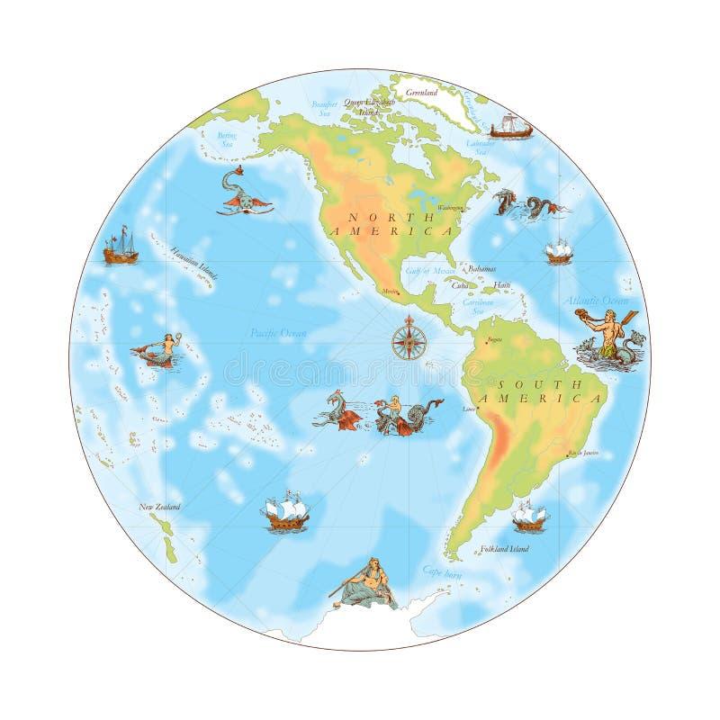 Vieille carte de marine Hémisphère occidental illustration de vecteur