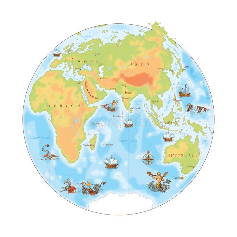 Vieille carte de marine L'hémisphère oriental illustration stock