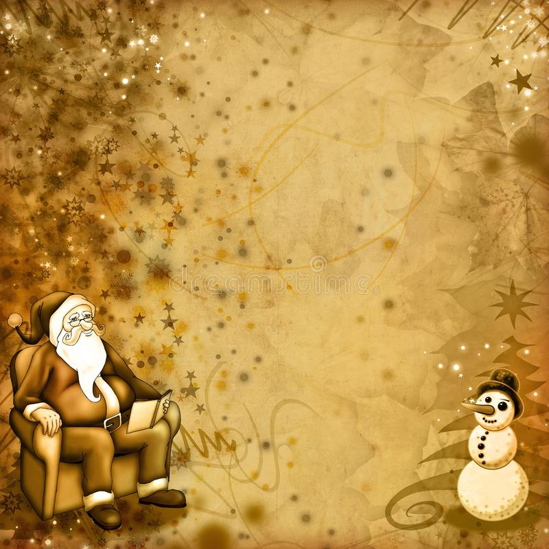 Vieille carte de Noël illustration stock