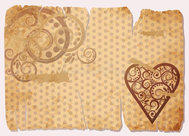 Vieille carte de papier d'amour de cru illustration de vecteur