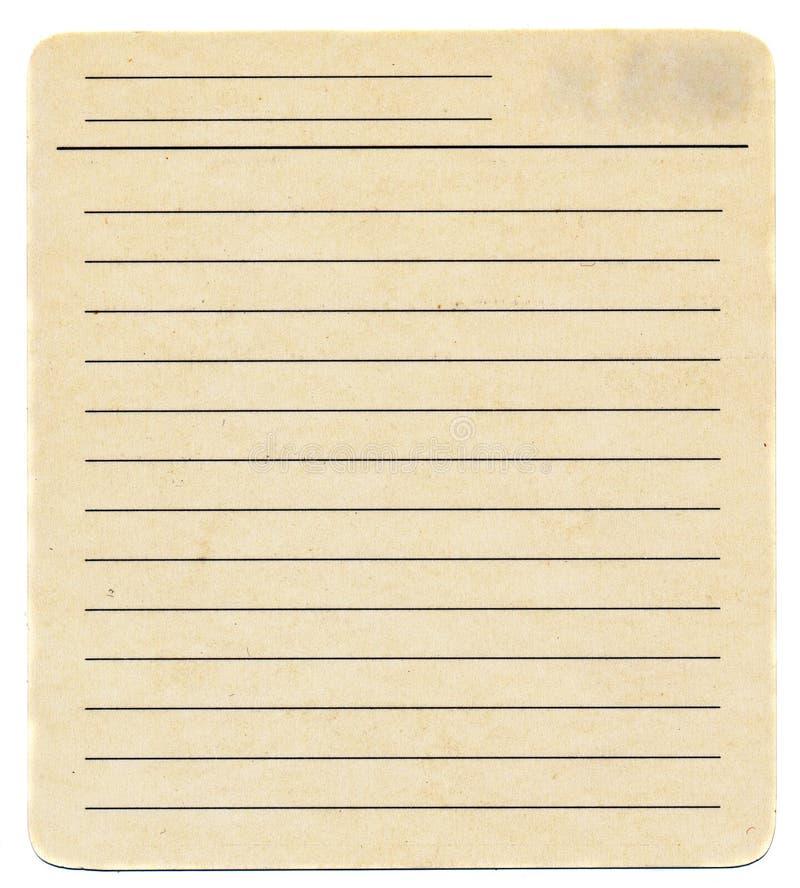 Vieille carte de papier de jaunissement sale d'index vide d'isolement sur le blanc photos libres de droits