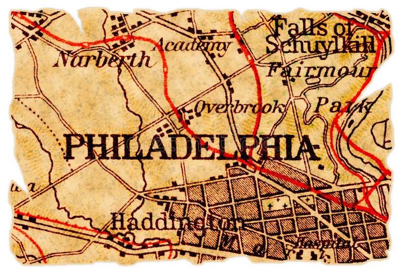 Vieille carte de Philadelphie images libres de droits