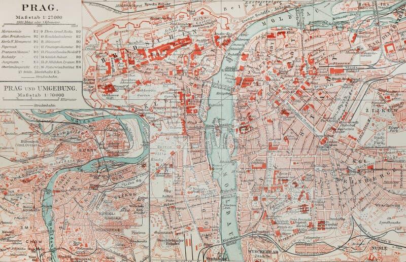 Vieille carte de Prague photo stock