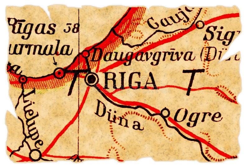 Vieille carte de Riga, Lettonie photos stock