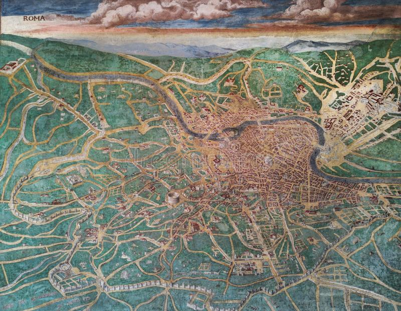 Vieille carte de Rome, Italie photo libre de droits