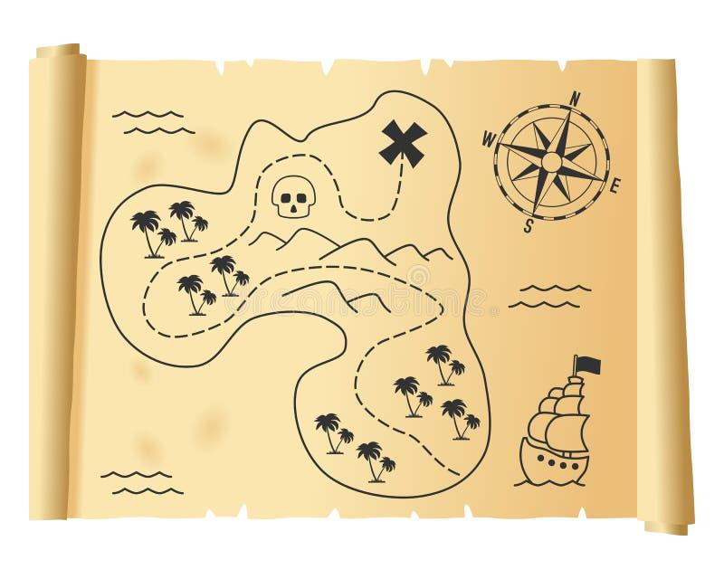 Vieille carte de trésor sur le parchemin illustration stock