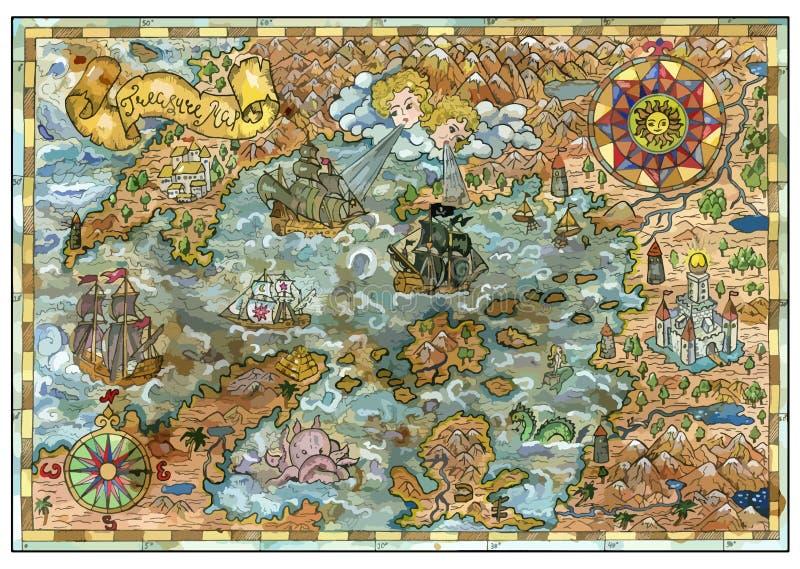 La Vieille Carte De L'imagination Débarque Avec Des Bateaux De Pirate,  Monstres, Châteaux, îles De Trésor Illustration Stock - Illustration du  trame, conception: 113541230