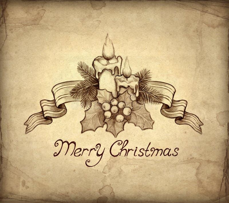 Vieille carte de voeux de Noël illustration stock