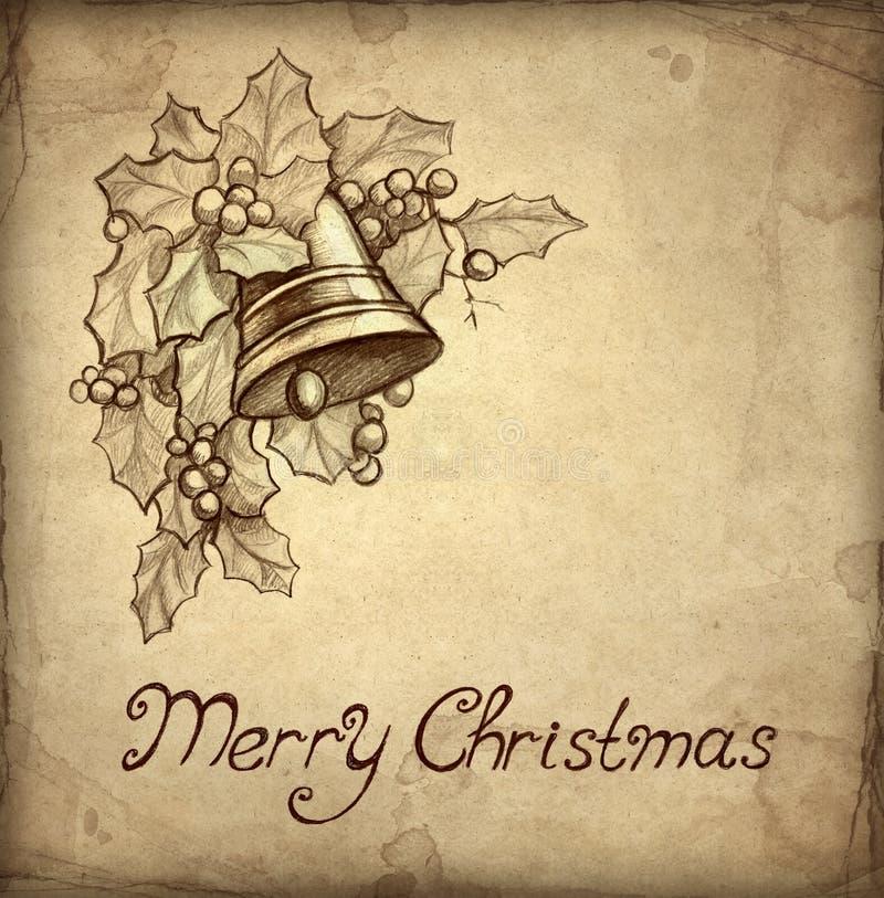 Vieille carte de voeux de Noël illustration libre de droits