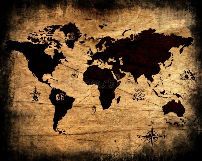 Vieille carte grunge du monde illustration stock